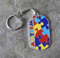 Autism Awareness Puzzle Piece Dogtag Keyring Keychain Bag Charm Ladies Men Gift