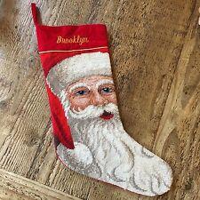 "Red Velvet Needlepoint Stocking Santa Personalized 16"" EUC- Brooklyn"