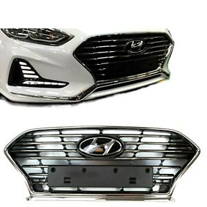FRONT BUMPER RADIATOR GRILLE CENTER FOR HYUNDAI SONATA 2018 2019 WITH OEM EMBLEM