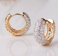 Beautiful 18k Gold Platinum Plated Small Hoop High Quality Crystal Earrings
