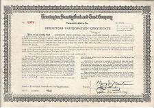 1934 PENNSYLVANIA Kensington Security Bank & Trust Co Stock Certificate Phila