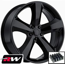 "20x8"" RW Wheels for Dodge Challenger 2011-2014 Style Gloss Black Rims & Lug Nuts"