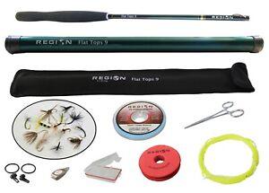 Tenkara Fly Rod - Flat Tops 9' Travel Rod w/ Starter Kit - Japanese Carbon Fiber