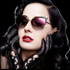 Women Retro Lens Mirrored Metal Frame Glasses Oversized Cat Eye Sunglasses New