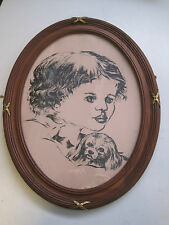 Vintage - superbe et grand cadre photo ovale et incrustation en bronze