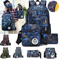 3Pcs/Set Large Camouflage Girls Boys Travel School Bag Backpack Rucksack Bag PT