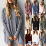US Womens Long Sleeve Sweater Blouse Ladies Oversized Jumper Pullover Tops