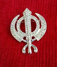 Impresionante Diamonte Sikh Khanda plateado plata broche Pastel Pin Singh turbante Dumala