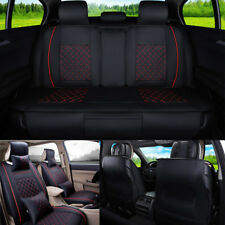Car Seat Cover Mat PU Leather 5 Seats Rear+Front Universal Black W/ Red Size L