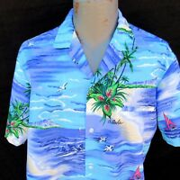 Vtg Royal Creations Hawaiian Aloha Shirt Size Large Diamond Head Outrigger