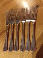 6 X Antique John Batt Silver Plate EPNS Dessert Forks 17.3cm  Bright Cut Design
