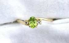 14Kt REAL Yellow Gold Oval Arizona Peridot Topaz Gemstone Gem Stone Ladies Ring
