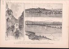 INONDATION MIDI AVIGNON RUE JOSEPH VERNET ETC.. 1886 GRAVURE ANTIQUE PRINT