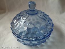 Vintage Heavy Blue Diamond Glass Finial Lid Trinket Jewelery Key Salt Sugar Dish