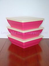 Tupperware Zen Serenity Set of 3 Square 4-cup Bowls & Seals Pink Cream Rare New