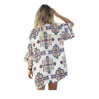 Women Fashion Cardigan Kimono Boho Chiffon Blouse Beach Bikini Cover Up Tops