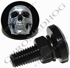 2 Black Billet Aluminum License Plate Frame Lic Fastener Bolts - Chrome Skull
