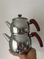 Traditional Turkish Tea Pot Stainless Steel Caydanlik Mini - UK free post