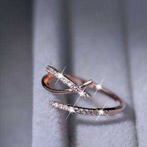 18k rose gold gp made with Swarovski crystal adjustable free size open ring