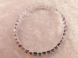 Crystal Rhinestone 1-Row Multi-Colour Stretch Tennis Bracelet Bridal Prom Bling