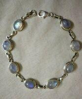 Rainbow Moonstone Bracelet..925 Sterling Silver..June Birthstone.Flashy Bracelet