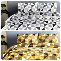 Fusion Geo Duvet Cover Bedding Set Grey Ochre Yellow Quilt Single Double King