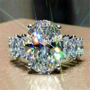 Gorgeous Women 925 Silver Wedding Band Rings Oval Cut White Sapphire Sz 6-10