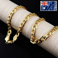 Mens 18K Yellow Gold GP 10MM Classic Curb Chain Solid Heavy Link Necklace 24""