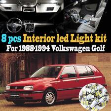 8Pc Super White Interior LED Light Bulb Kit Package for 1988-1994 VW Golf
