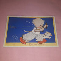 Rare Vintage Mabel Lucie Attwell England Expects Color Postcard Valentine Unpost