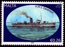 HMS GERANIUM (K16) Flower Class Corvette Warship WWII Malta Convoys Stamp