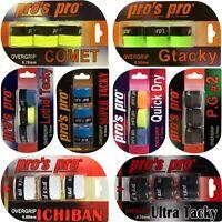 Auswahl: Pros Pro Overgrips im 3er Set (je 3 x Griffband Tennis Squash Padel usw