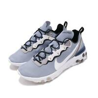 Nike React Element 55 Indigo Fog White Mystic Navy Men Running Shoes BQ6166-402