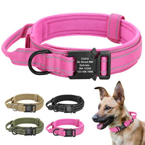 Tactical Military Dog Collar with Handle K9 Training Personalised Name ID Buckle