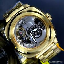 Mens Invicta Aviator Ghost Bridge Mechanical Skeleton Gold Plated 48mm Watch New