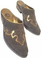 YELLOW BOX Womens Size 5.5 Brown Suede Bronze Western Style Slip On Mules Heels