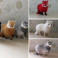 Realistic Simulation Fox Animals Model Plush Toy Stuffed Fluffy Doll Kids Gift