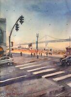 "Watercolor Original Painting ""Embarcadero, San Francisco  11"" x 15"" NOT A PRINT"