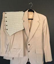 """Vintage 1960's Palm Beach Men's 3 Piece Suit 44"""" Rare Jacket Plaid Vest Beige"""