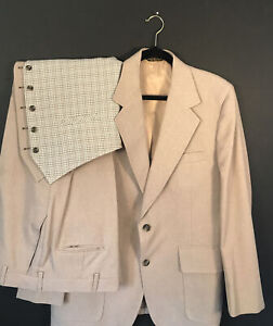 "Vintage 1960's Palm Beach Men's 3 Piece Suit 44"" RARE Jacket Plaid Vest Beige"