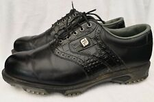 FootJoy DryJoys Tour Black Croc 53717 Golf Shoes Size UK 9.5 Wide Used Condition