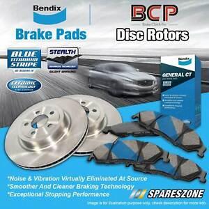 Front Disc Rotors + Bendix GCT Brake Pads for Daihatsu Pyzar G301 G303 97 - 02