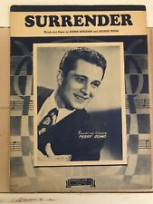 """""""Surrender"""" Vintage Sheet Music, Perry Como on cover"""