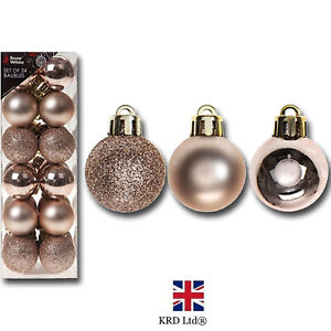 24 Pack Christmas Tree Ornaments Hanging Baubles Rose Gold Xmas Decor P513330 UK