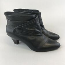 Faith Size 39 UK6 Black Leather Ankle Pull On Button Details Mid Heels Boots
