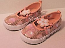 Jumping Beans Toddler Girl Size 6 Pink Sequin Glitz Shoes with Flower NEW