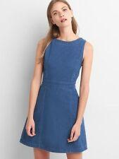 New Gap Womens Fit Flare Blue Jean Stretch Denim Dress Sleeveless 10 T 79 Nwt