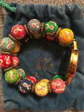 Angela Moore Elastic Watch Painted Beads- pattern: breast cancer ribbons