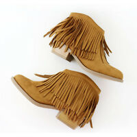 Fashion Icon Suede Fringe Ankle Booties Boots Almond Toe Stacked Heel Tan
