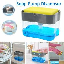 2in1 Soap Pump Dispenser Sponge Holder Dish Storage Dispensers Kitchen Press Us